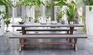 Table De Jardin Avec Banc : salon de jardin avec bancs en bois d 39 acacia et ciment ~ Melissatoandfro.com Idées de Décoration