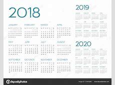 Inglês vector calendário 201820192020 — Vetores de Stock