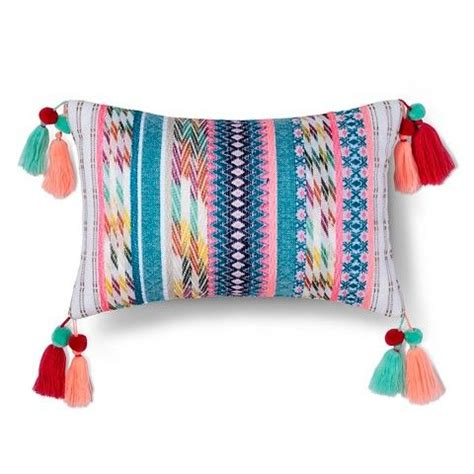 Target Bedroom Throw Pillows by Yarn Dyed Texture Tassel Pillow Navy Mulitcolor
