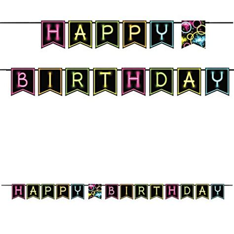 glow under black light party birthday banner with neon quot happy birthday quot letters ebay
