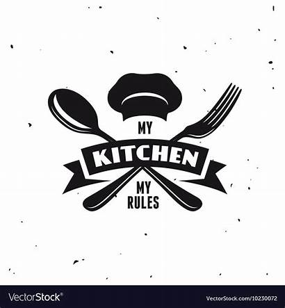 Kitchen Rules Vector Poster Lettering Vectorstock Royalty