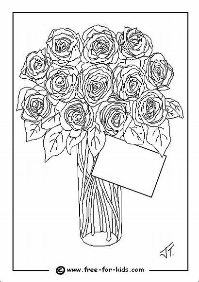 Colouring Mothers Pages Vase Printable Roses Flowers