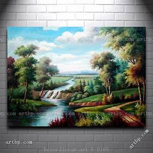Water Stream In Green Grassland Oil Painting Classic ...