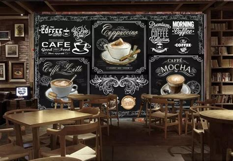 Enjoy a cup of coffee in this rainy night coffee shop ambience with relaxing jazz music, rain sounds, and other ambient coffee. 3D Hand-painted Blackboard Coffee Design Wallpaper Retro Cafe Mural - beddingandbeyond.club