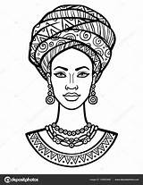 African Woman Drawing Portrait Illustration Turban Young Vector Animation Coloring Pages Background Poster American Drawings Shirt Monochrome Linear Afro Isolated sketch template