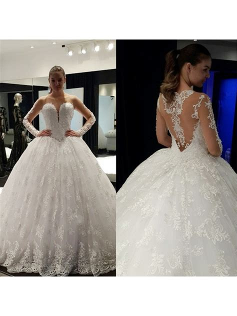 Sheer Long Sleeves Lace Bridal Ball Gown Wedding Dresses