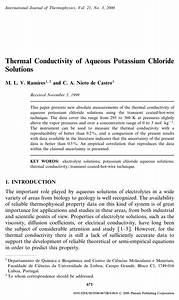 Pdf  Thermal Conductivity Of Aqueous Potassium Chloride Solutions