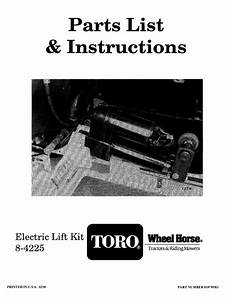Toro Wheelhorse Electric Lift Kit Owners Manual