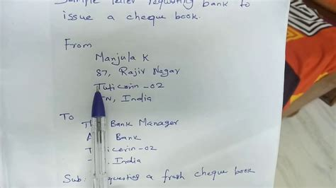sample letter  bank requesting  cheque book youtube