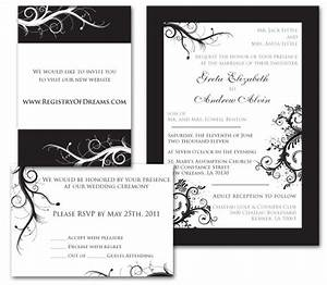 Wedding invitation black white with rsvp registry card for Wedding invitation include registry