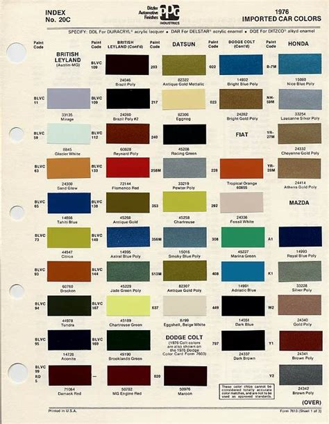 bmc bl paint codes and colors tech library the austin