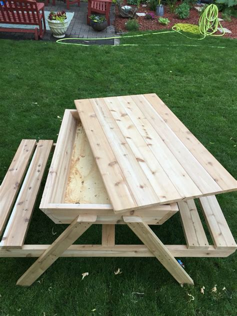 kids picnic table sand box cedar picnic table ice chest