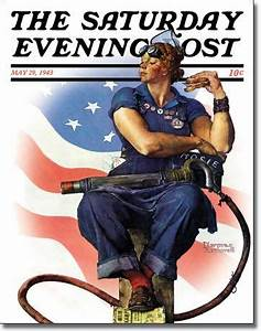 Saturday Evening Post Rosie the Riveter Tin Sign Vintage