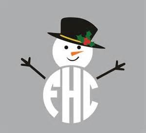 snowman monogram svg cuttable designs