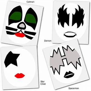 kiss face makeup templates holidays halloween costumes With kiss mask template
