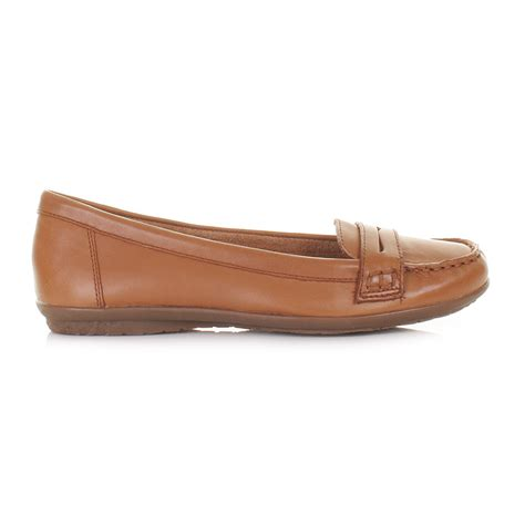 womens ladies hush puppies tan ceil penny loafer shoes