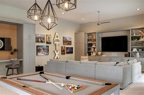 pool table in living room staggered pendants over pool table transitional living