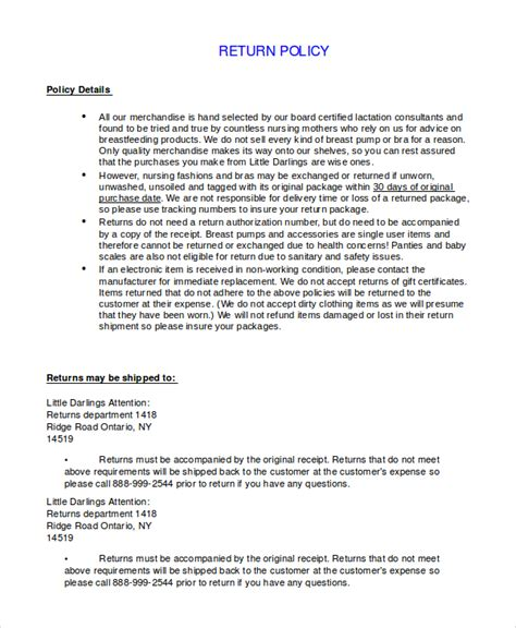 policy template word return policy template 7 free word pdf document downloads free premium templates