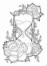 Hourglass Drawings Tattoo Drawing Coloring Pages Skull Broken Adult Printable Body Stencils Tattoos Pencil Sheets Uploaded User Getdrawings sketch template