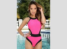 Fuchsia Two Tone Cut Out Sexy One Piece Swimsuit #020087