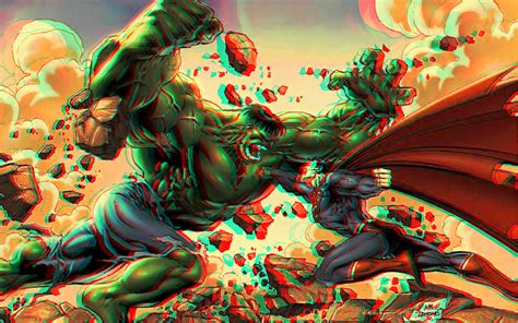 superman vs hulk 3d relief rouge cyan anaglyph by