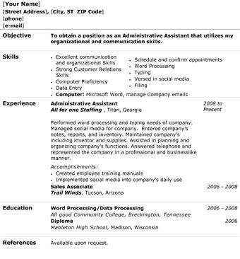 administrative assistant resume the resume template site