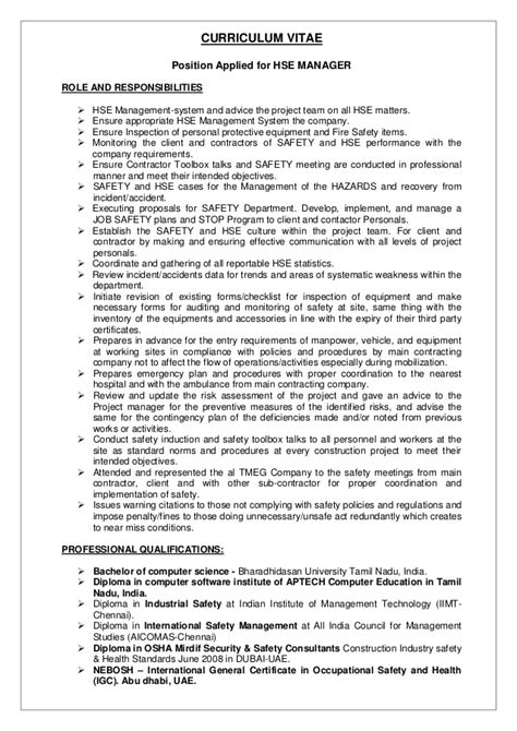 Safety Manager Resume Sle by Raheem Safety Manager Cv New 28 Images This Free Sle Was Provided By Aspirationsresume Cv