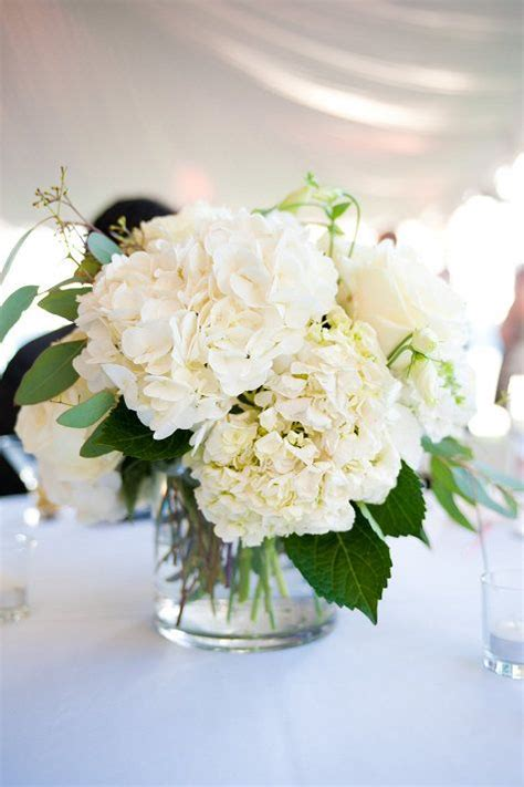 simple  rustic diy hydrangea wedding centerpieces