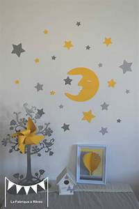 Chambre Bebe Jaune : stickers d coration chambre enfant fille b b gar on lune et toiles jaune gris photo de th me ~ Nature-et-papiers.com Idées de Décoration