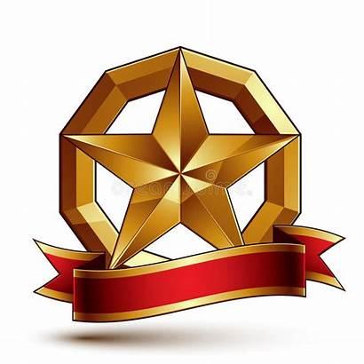 Pentagonale Glanzende Gestileerde Ster Symbool Gouden Gemerkt