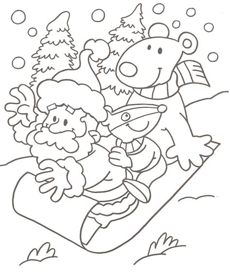 Free coloring pages of santa in his sleigh