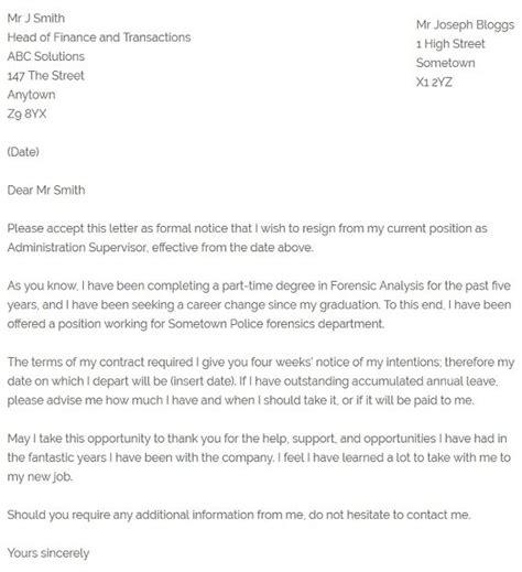resignation letter  career change resignletterorg
