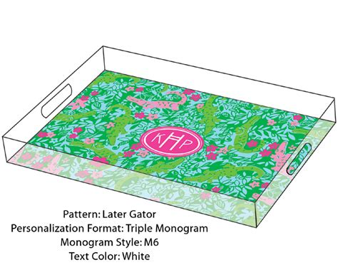 lilly pulitzer personalized serving tray in later gator