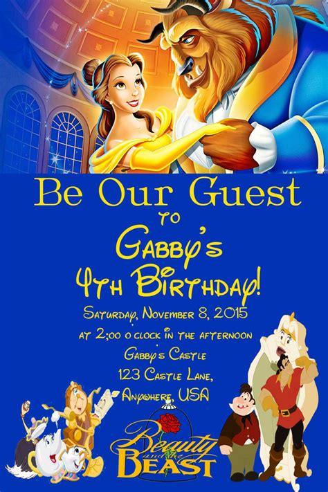 beauty   beast birthday invitation