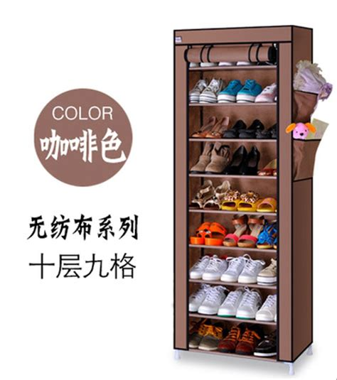 Harga Rak Sepatu 2 Susun jual rak sepatu kain minimalis 10 susun rangka aluminium