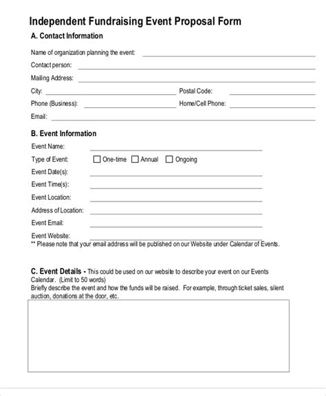 fundraising event proposal templates word  pages