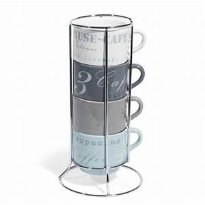 Support Tasse à Café : 4 tasses caf support en fa ence fine food maisons du monde ~ Teatrodelosmanantiales.com Idées de Décoration