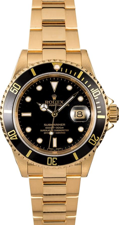 Rolex Submariner 16618 Yellow Gold Oyster