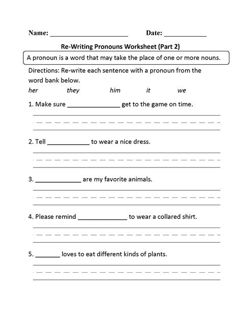 images  personal pronoun worksheet  grade