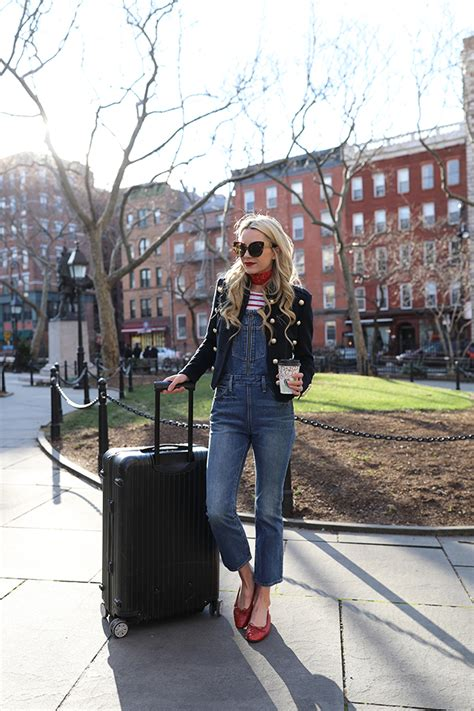 travel style airport outfit levis overalls chanel
