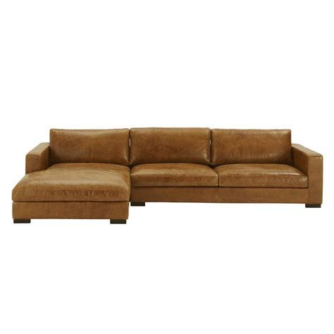 5 seater vintage leather corner sofa camel lincoln maisons du monde