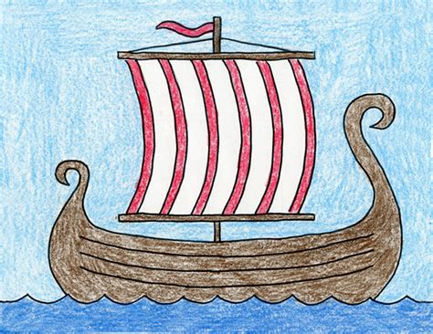 Viking Boat Drawing Easy draw a viking ship 183 projects for