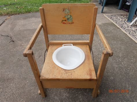 vintage wooden child potty chair with tray antique