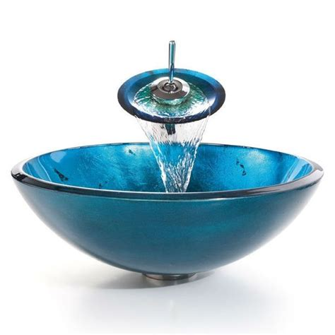 blue glass vessel sinks for bathrooms round blue tempered glass vessel bathroom sink bathrooms
