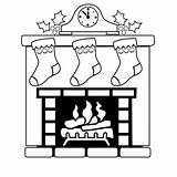 Fireplace Christmas Coloring Pages Mantle Clock Drawing Draw Easy Stockings Sheets Corner Fire Mantel Printable Fireplaces Sheet Outline Stocking Silhouette sketch template