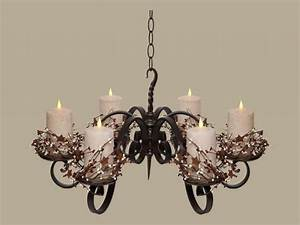 pillar candle chandelier lighting non electric hanging With kitchen cabinets lowes with wrought iron candle holder centerpiece