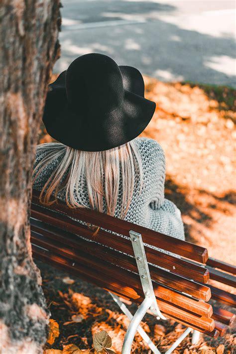Woman Sitting on a Bench Back View Free Stock Photo | picjumbo