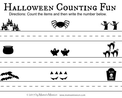 scary halloween printables count write  match
