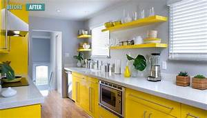 Hot color combo yellow gray for Kitchen cabinet trends 2018 combined with nappe en papier