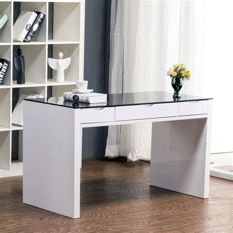 white computer desk with glass top white desk glass top desk design ideas